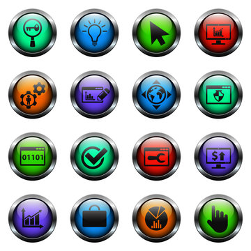 seo vector icons on color glass buttons