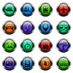 travel vector icons on color glass buttons