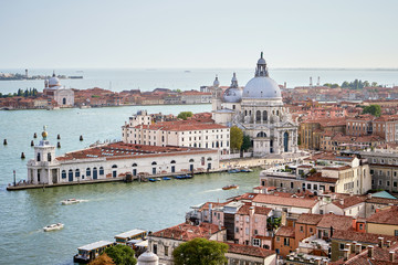 Aerial view of Venice with Santa Maria della Salute church, Grand canal and sea. View from Campanille de San Marco. Veneto, Italy. Summer