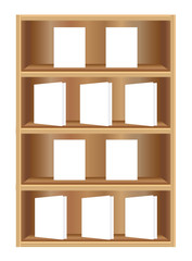 Bookcase with white books vector