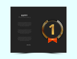 1st anniversary black card with gold and red elements. Vector illustration.