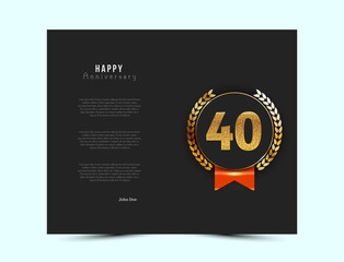 40th anniversary black card with gold and red elements. Vector illustration.