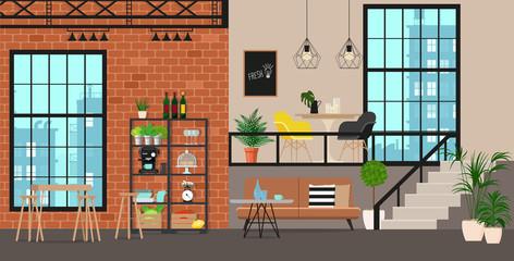 Interior design of an industrial kitchen. Vector flat illustration.