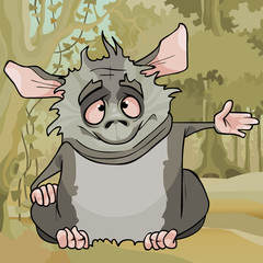 cartoon fluffy cute gray animal sitting in the forest