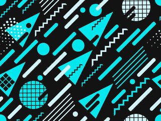Memphis seamless pattern. Blue color. Geometric elements memphis in the style of 80s. Points and dotted lines. Vector illustration