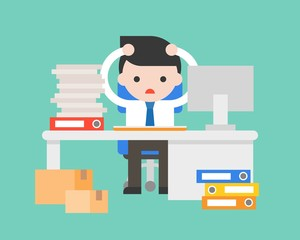 Businessman stress in work place with pile of document and desk, work order management concept, flat design
