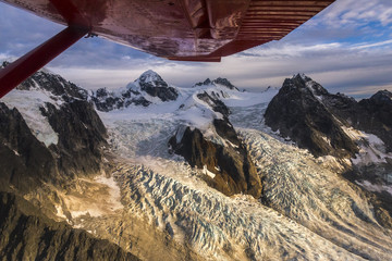 View from airplane flying over Denali National Park, Alaska, USA