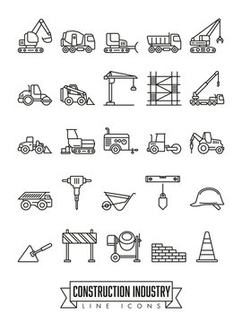 Construction industry line icon set
