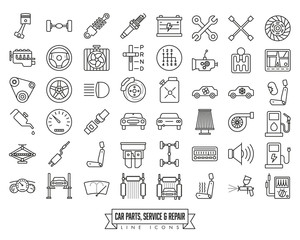 Car parts, service and repair line icon set