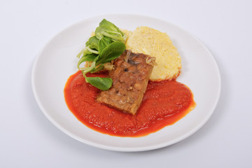 Tempeh with tomato sauce and dumplings on a white