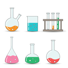 Set of chemical flasks icons, isolated on white background. Cartoon style