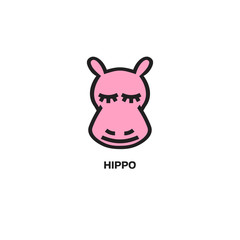Hippo head icon, isolated on white background. Template for your project.