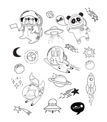 Outer Space concept illustration. Cute animals astronauts in helmets, creative nursery designs, perfect for kids room, fabric, wrapping