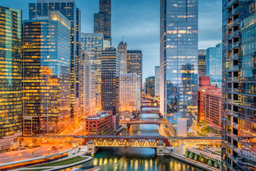 Wall Mural - Chicago, Illinois, USA Cityscape