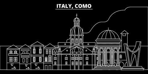 Como silhouette skyline. Italy - Como vector city, italian linear architecture, buildings. Como line travel illustration, landmarks. Italy flat icon, italian outline design banner