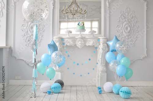 One Year Birthday Decorations A Lot Of Balloons Blue And White Colors Stars Big Cake For Holiday Party