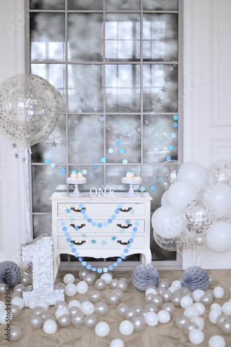 One Year Birthday Decorations Ideas Decoration For Holiday Party A Lot Of Balloons Silver And White Colors Cake
