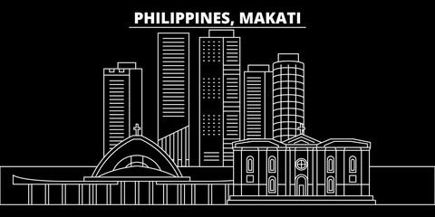 Makati silhouette skyline. Philippines - Makati vector city, filipino linear architecture, buildings. Makati line travel illustration, landmarks. Philippines flat icon, filipino outline design banner