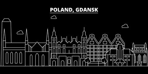 Gdansk silhouette skyline. Poland - Gdansk vector city, polish linear architecture, buildings. Gdansk line travel illustration, landmarks. Poland flat icon, polish outline design banner
