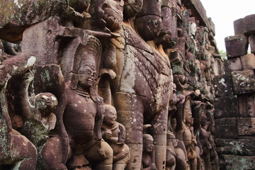 Sculpture of The Terrace of Elephants, Angkor Thom, Siem Reap, Cambodia. UNESCO World Heritage Site.
