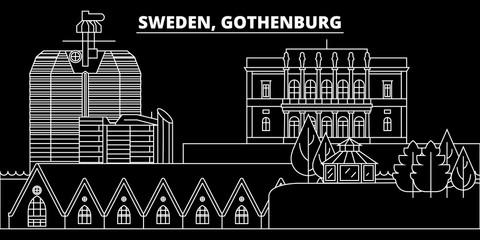 Gothenburg silhouette skyline. Sweden - Gothenburg vector city, swedish linear architecture, buildings. Gothenburg line travel illustration, landmarks. Sweden flat icon, swedish outline design banner