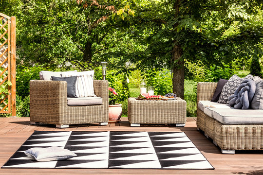 Garden furniture and rug