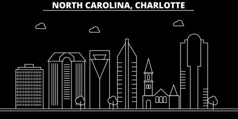 Charlotte silhouette skyline. USA - Charlotte vector city, american linear architecture, buildings. Charlotte line travel illustration, landmarks. USA flat icons, american outline design banner