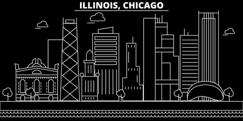 Chicago silhouette skyline. USA - Chicago vector city, american linear architecture, buildings. Chicago line travel illustration, landmarks. USA flat icons, american outline design banner