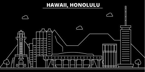Honolulu silhouette skyline. USA - Honolulu vector city, american linear architecture, buildings. Honolulu line travel illustration, landmarks. USA flat icons, american outline design banner