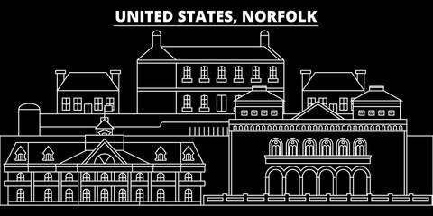 Norfolk silhouette skyline. USA - Norfolk vector city, american linear architecture, buildings. Norfolk line travel illustration, landmarks. USA flat icons, american outline design banner