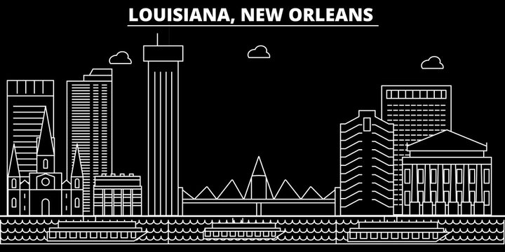 New Orleans silhouette skyline. USA - New Orleans vector city, american linear architecture, buildings. New Orleans line travel illustration, landmarks. USA flat icons, american outline design banner