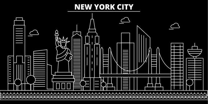 New York City silhouette skyline. USA - New York City vector city, american linear architecture, buildings. New York City line travel illustration, landmarks. USA flat icons, american outline design