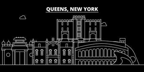 Queens silhouette skyline. USA - Queens vector city, american linear architecture, buildings. Queens line travel illustration, landmarks. USA flat icons, american outline design banner