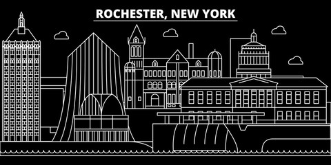 Rochester silhouette skyline. USA - Rochester vector city, american linear architecture, buildings. Rochester line travel illustration, landmarks. USA flat icons, american outline design banner