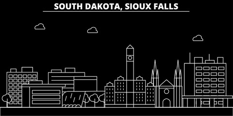 Sioux Falls silhouette skyline. USA - Sioux Falls vector city, american linear architecture, buildings. Sioux Falls line travel illustration, landmarks. USA flat icons, american outline design banner