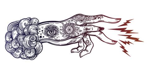 Flash magic. Inked human hand, sending magic hypnosis lightning beam drawing.