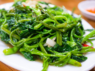 Vietnamese fried morning glory, rau muong xao toi