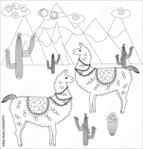 """coloring page of cartoon lama vector illustration"