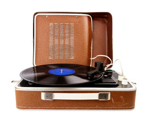 Open vintage suitcase turntable