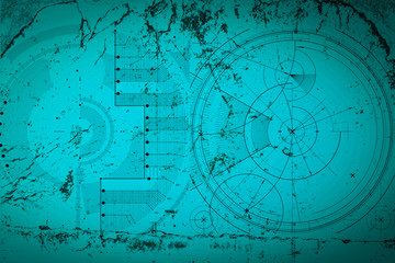 Abstract grunge futuristic cyber technology background. Sci-fi circuit design. Blueprint on old grungy surface. Cyber punk backdrop