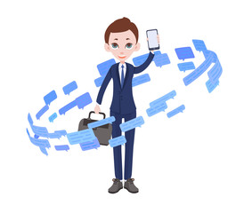 Businessman surrounded by text messages and speech bubbles. Information vortex. Flat vector illustration. Isolated on white background.
