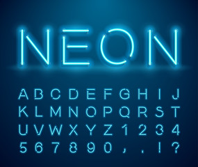 Set of letters in neon style. Vector font with light effect. Set of letters, numbers, text and font. Glow effect. Signboard Design.