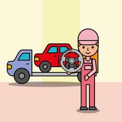 girl mechanic tow truck car steering wheel service vector illustration