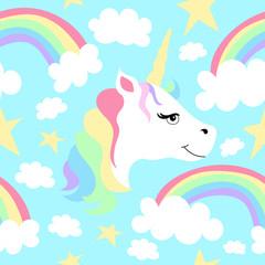 Seamless Pattern of Unicorns and Rainbows
