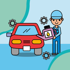 mechanic boy holding oil canister car service vector illustration