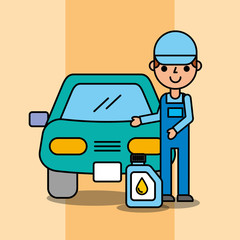 worker mechanic and oil canister car service vector illustration