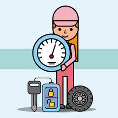 mechanic girl speedometer remote key and wheel car service vector illustration