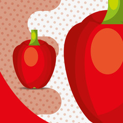 fresh vegetable red pepper bell on dots background vector illustration