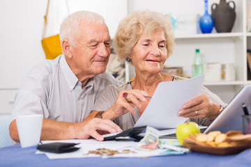 Happy senior spouses with bills and laptop