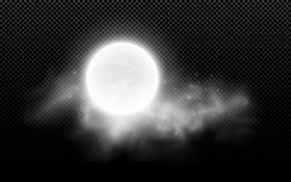 Realistic full moon with clouds isolated on a transparent background. Starry cloud. Dark night. Glowing milk moon. Vector illustration
